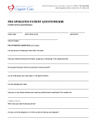 Pre-OP Questionnaire